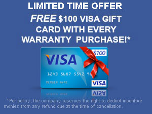 LIMITED TIME OFFER - FREE $100 GIFT CARD with every warranty purchase!